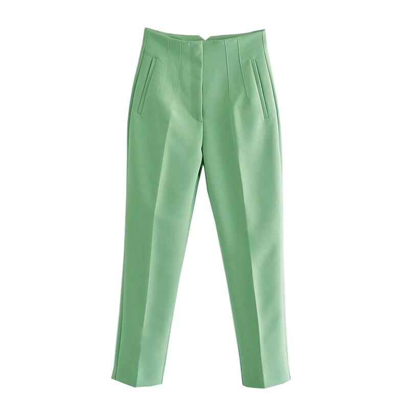 Офисные бежевые брюки для женщин 2021 винтажные женские брюки до щиколотки на молнии с высокой талией Элегантные женские брюки