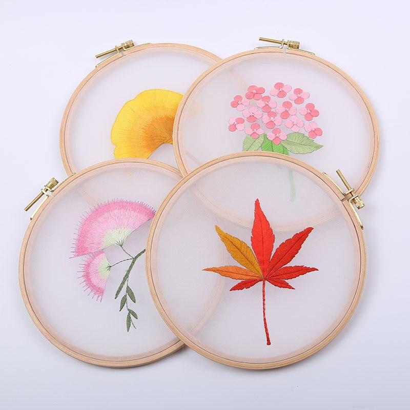 DIY bordado de flor/hoja hecho a mano para principiante Kit de punto de cruz cinta pintura bordado aro decoración del hogar