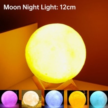 3D Print Moon Lamp 8CM/12CM Battery Powered With Stand Starry Lamp Bedroom Decor