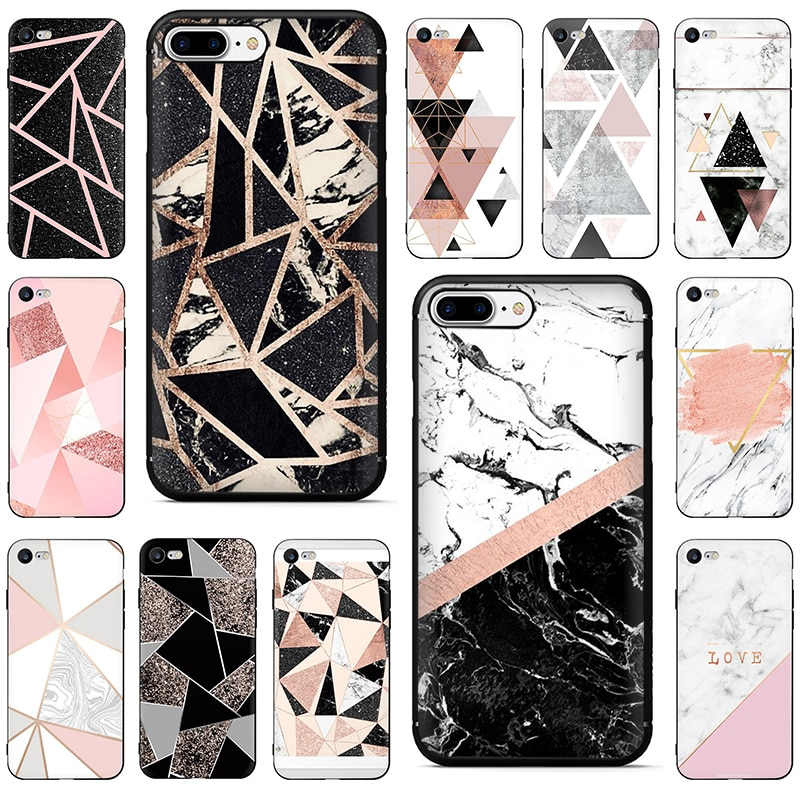 Funda de teléfono de silicona de mármol con empalme geométrico para iPhone 5, 5S, SE, 2020, 6, 6s, 7, 8 plus, X, XR, XS, 11 Pro Max