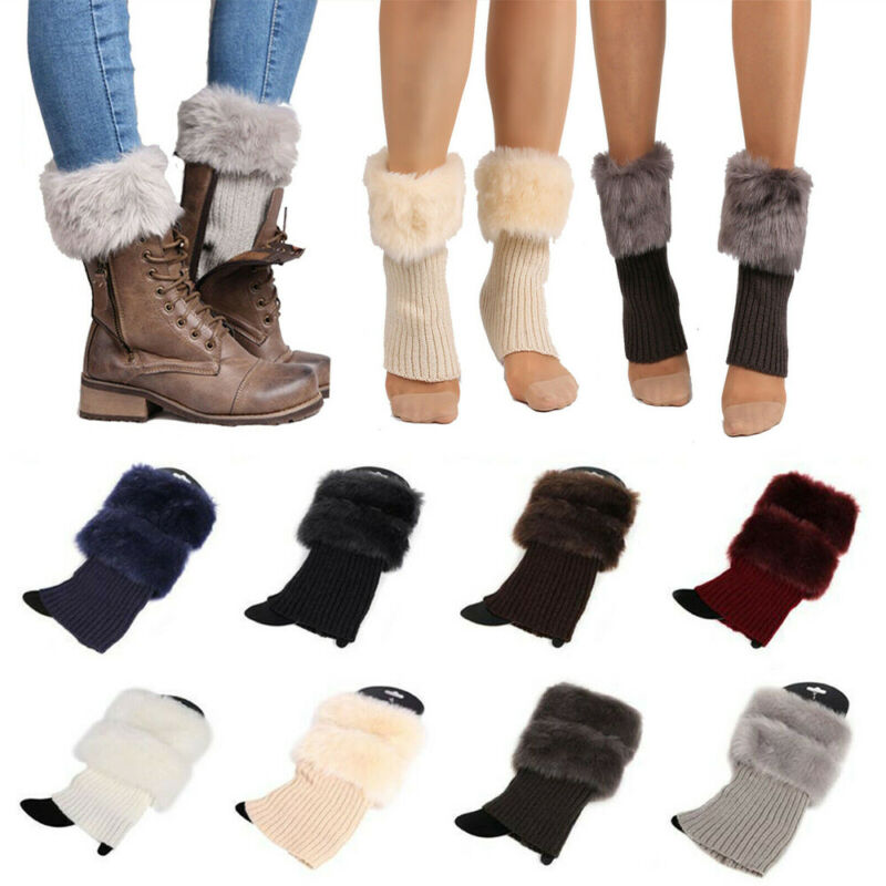 Autumn Winter Casual Womens Knitted Crochet Boot Cuffs Fur Knit Warm Leg Warmers Toppers Ankle Socks