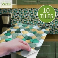 funlife%c2%ae brilliant%e2%84%a2 1520cm green and yellow vine mosaic tile sticker waterproof wall sticker for kitchen bathroom home decor