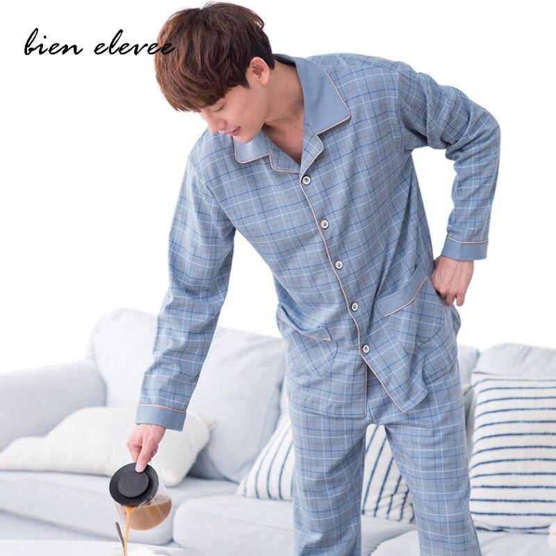 Мужчины пижамы пижамы комплект для мужчин повседневный дом одежда осень зима ночное белье костюм полный рукав длинные брюки полосатые пижамы комплект