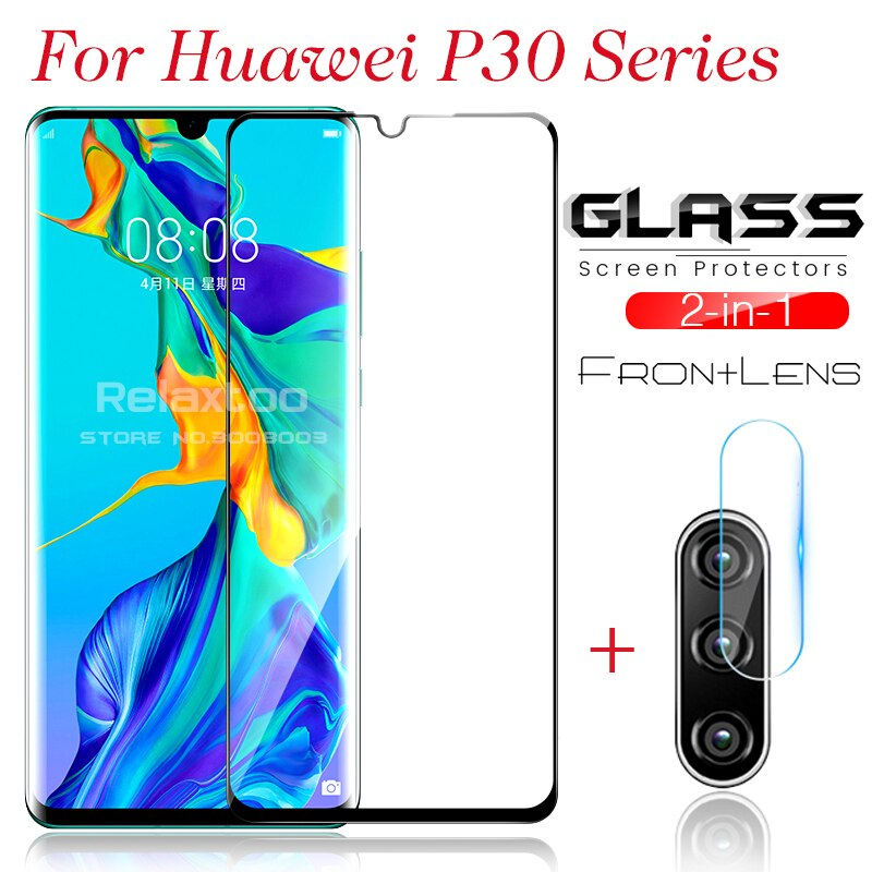 Vidrio protector de lente de cámara 2 en 1 para gafas hauwei en huawei p30 p 30 light pro 30lite pantalla protector de pantalla cubierta de película
