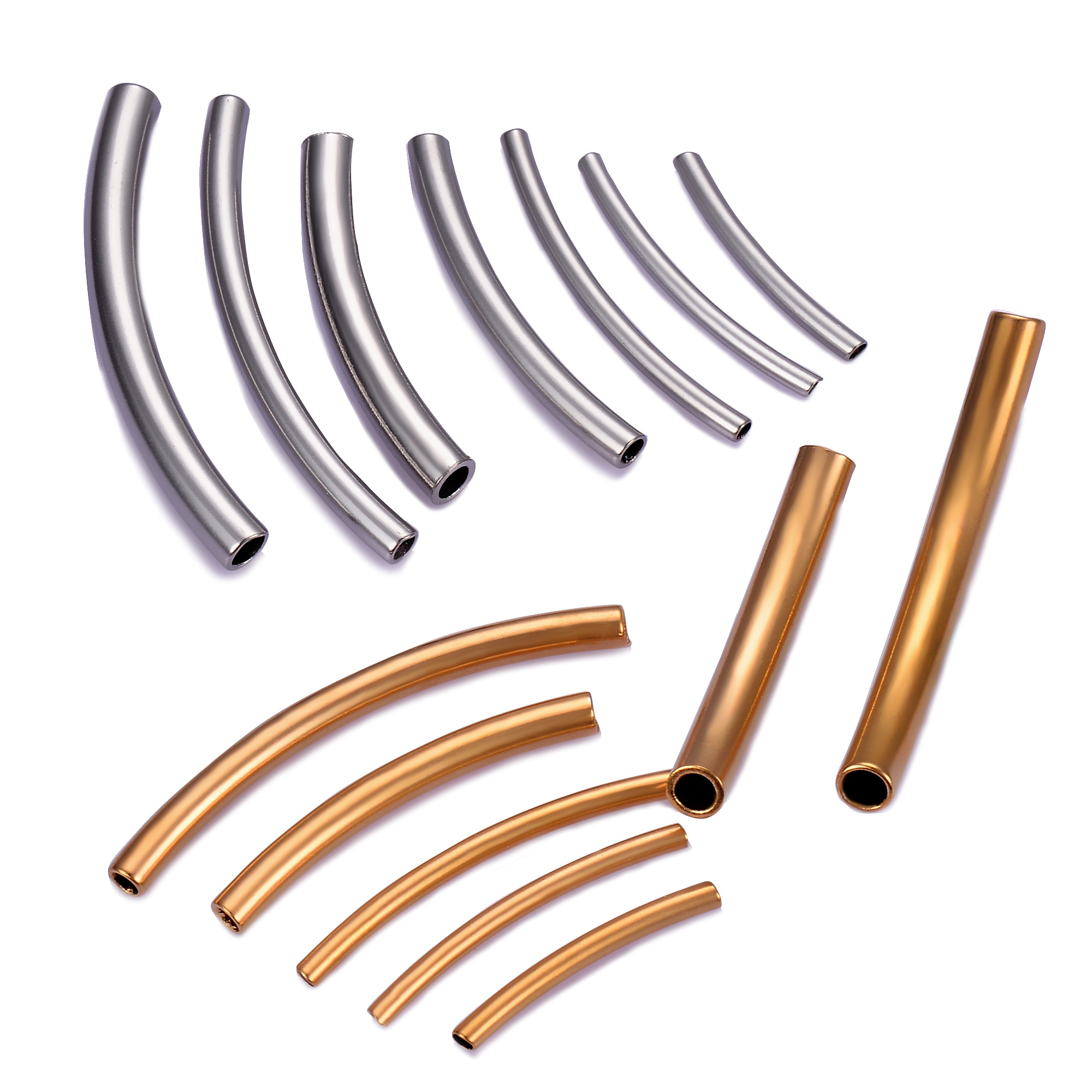 AliExpress - 10 pcs stainless steel Curved Tube Spacer Beads Connector Jewelry Findings For Bracelets Necklace DIY Jewelry Making Accessories