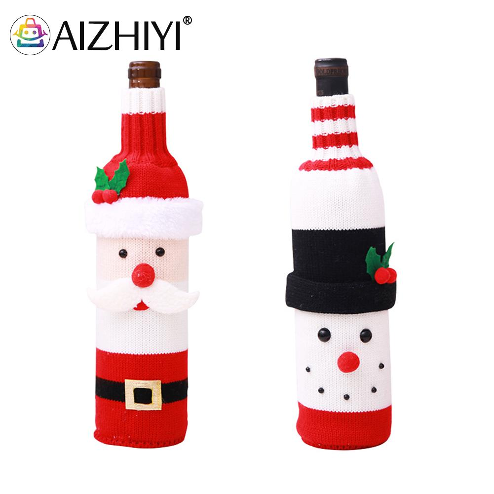 Christmas Wine Bottle Cover Home Party Dinner Table Decoration New Year Santa Claus Snowman Champagne Bottle Xmas Ornament Gifts santa claus snowman elk christmas decorations wine bottle cover plaid linen bottle decoration champagne bottles topper bag