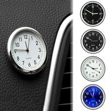 Pocket Small Mini Luminous Quartz Analog Watch Stick-On Clock Car Auto Ornament Internal Stick-On Me