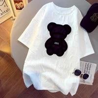 womens t shirts harajuku girls plus size tops letter jacquard o neck short sleeves loose summer tshirt bear white tees m 5xl