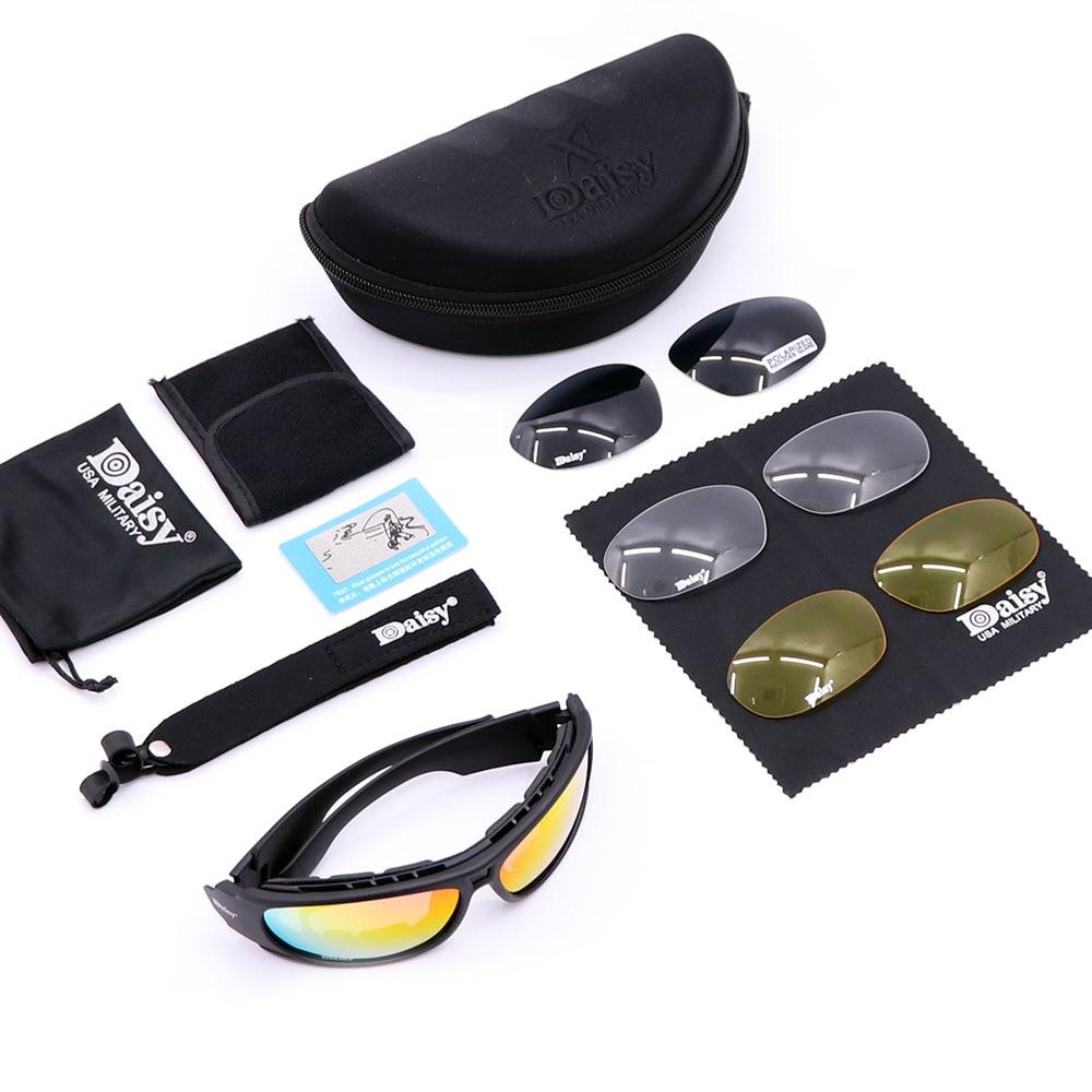Daisy C1 /C6 Polarized G Military Goggles Army Sunglasses with 4 Lens Original Box Men Shooting Eyew