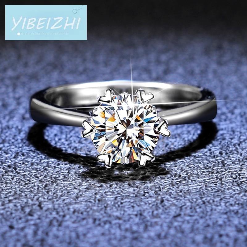 جديد 925 الفضة قطع ممتازة 1ct d اللون تمرير الماس اختبار حقيقي مويسانيتي حلقة pt950 خاتم مجوهرات خواتم الخطبة