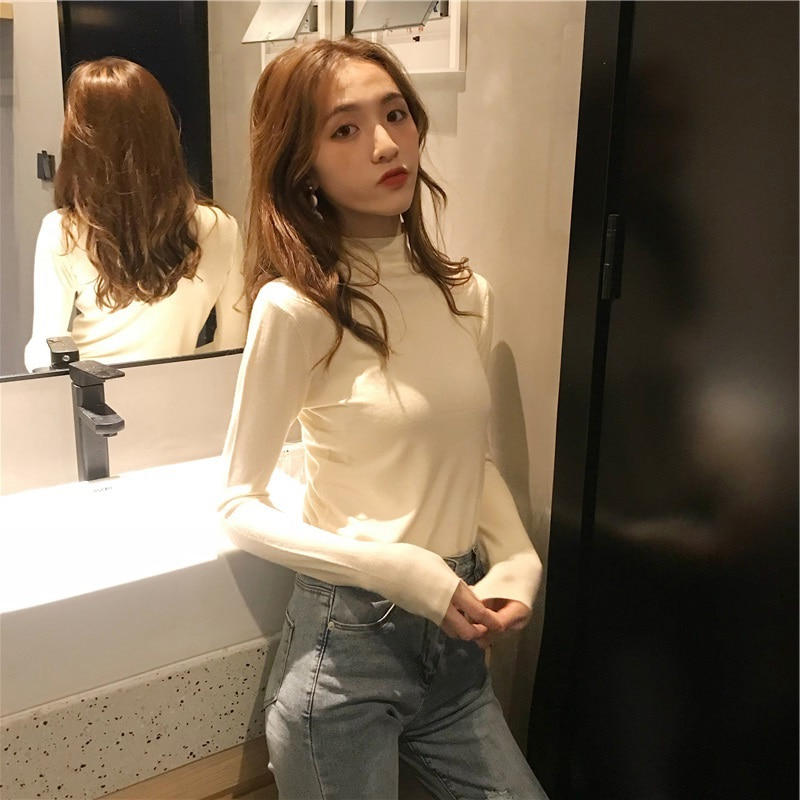 Half Turtleneck Bottoming Shirt nv chun Autumn and Winter Western Style Students Slim Fit Black Long