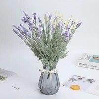 Fleurs artificielles de lavande  12 tetes  1 piece  Simulation de plantes aquatiques  pour la maison  fournitures pour fete de mariage bricolage Vase decoratif