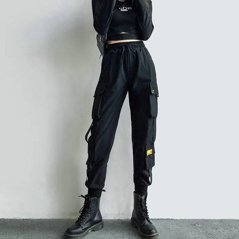 Брюки-карго женские с лентами, джоггеры с эластичным поясом и карманами, уличная одежда с завышенной талией, брюки-султанки в стиле панк, чер...