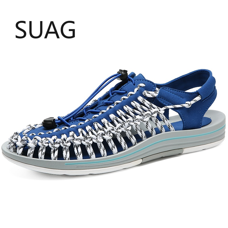 Summer Unisex Sandals Multicolor Handmade Weaving Design Breathable Shoes Men Beach Soft Bottom Non-