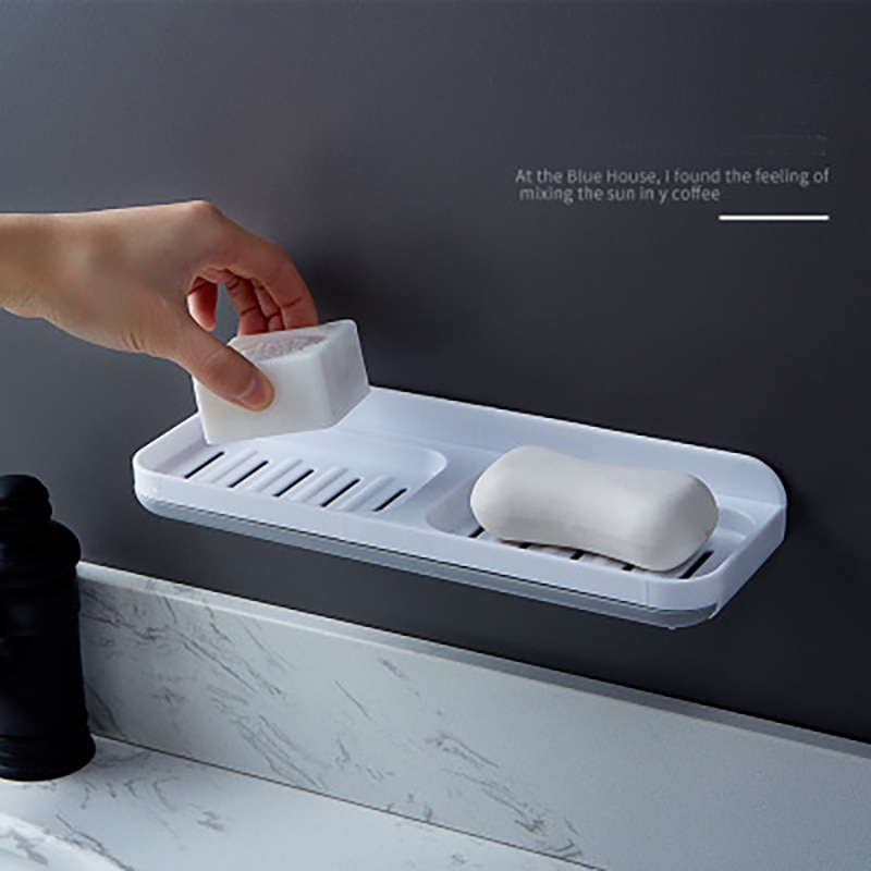 Soap box sucker wall-mounted creative drain-free perforated bathroom double compartment soap rack household soap box enlarge