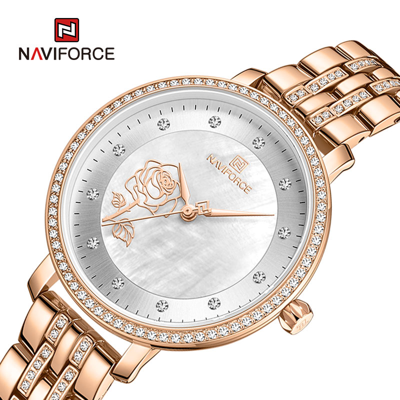 NAVIFORCE Fashion Elegant Women Quartz Watch Sport Waterproof Girl Watch Luxury Diamond Clock Gifts