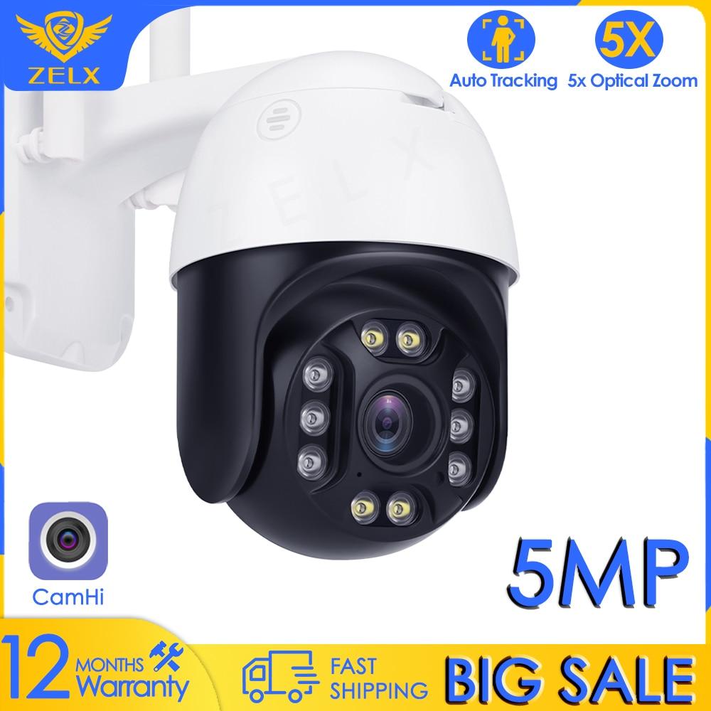 CamHi 5MP  Outdoor Camera WIFI CCTV Camera Alarm Auto Tracking Security Camera 5X Optical Zoom Wireless PTZ  Surveillance Camera
