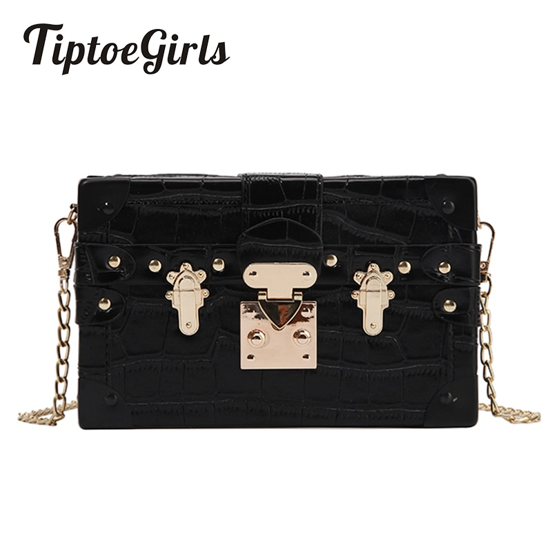 Маленькие цепочки, женские сумки в коробке, черные кожаные женские сумки, Дамский клатч, Ретро Женские сумки-мессенджеры с заклепками, сумка на плечо