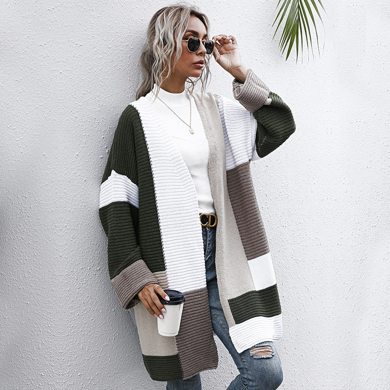 2021 Autumn And Winter Lazy Wind Thickened Autumn And Winter Long Knitted Cardigan For Women New Fashion Tops Flower Sweater enlarge