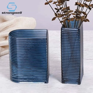 Strongwell Horizontal Stripes Glass Art Vase Home Decoration Accessories Living Room Table Decoration Flower Vases Hydroponics