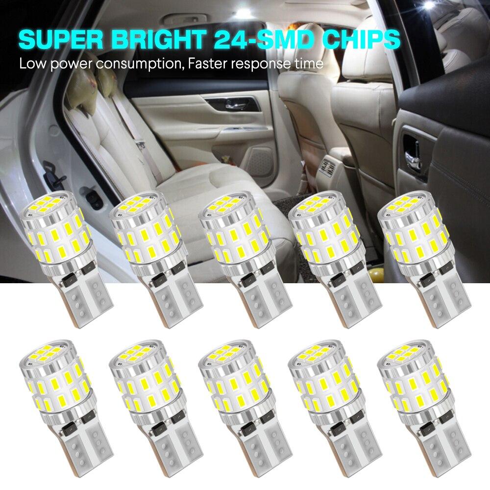 NOVSIGHT 10 Uds Auto T10 6500K Led lámparas de lectura de luz interior W5W 300LM Domo guantera Super brillante 12/24V luces de matrícula