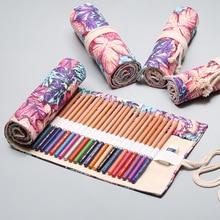 12/24/36/48/72 Holes Pencil Case Kawaii School Canvas Roll Maple Leaf Large Pen Bag for Girl Boy Pencil Box Stationery Pouch Box
