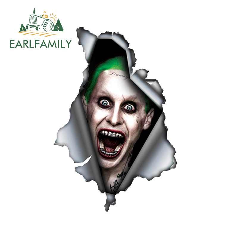 EARLFAMILY, 13cm x 8,7 cm, para el Joker, pegatina de coche rasgada, pegatina de Metal, pegatinas reflectantes, impermeable, estilo 3D, pegatina de coche de Anime