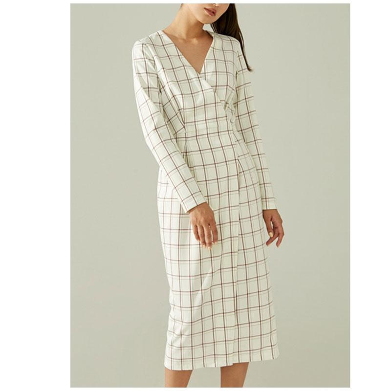 New Style Spring Midi Dress Women Casual Plaid Dress V-Neck Long  Sleeve Dress With Belt High Waist Slim Dress 2020 Vestidos