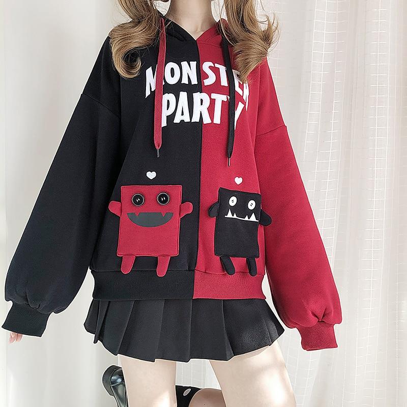 Monster party punk retalhos moletom com capuz pullovers outono inverno mori menina feminina solto harajuku plush oversize hoodies