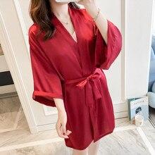 Novia dama de honor boda Kimono pijama de cuello en V Mujer bata dormir vestido camisón primavera ropa de dormir Sleepshirts Homewear