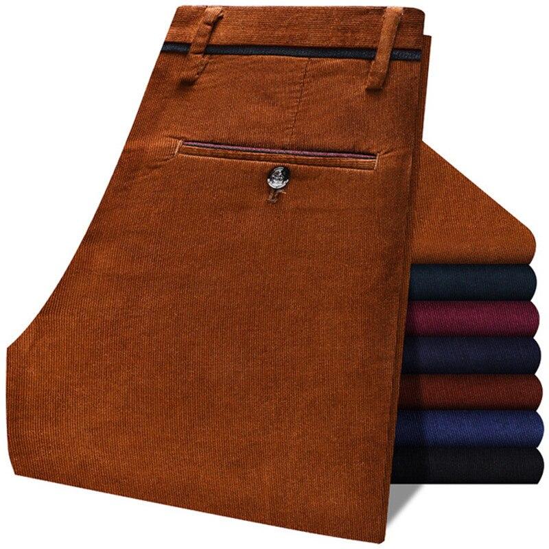 Мужской винтажный вельветовый костюм, облегающие повседневные брюки из эластичной ткани, модная брендовая одежда в деловом стиле, однотонн...
