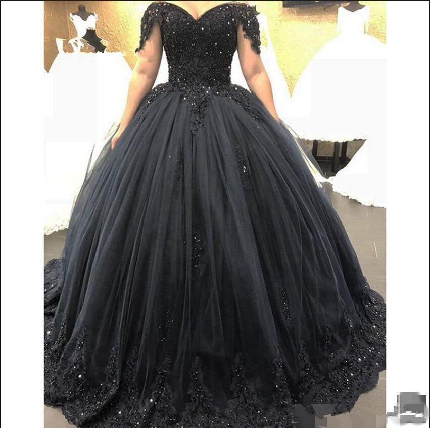 Элегантное черное бальное платье, платья Quinceanera, вечернее милое платье с открытыми плечами и бусинами, официальное платье, вечерние платья 16