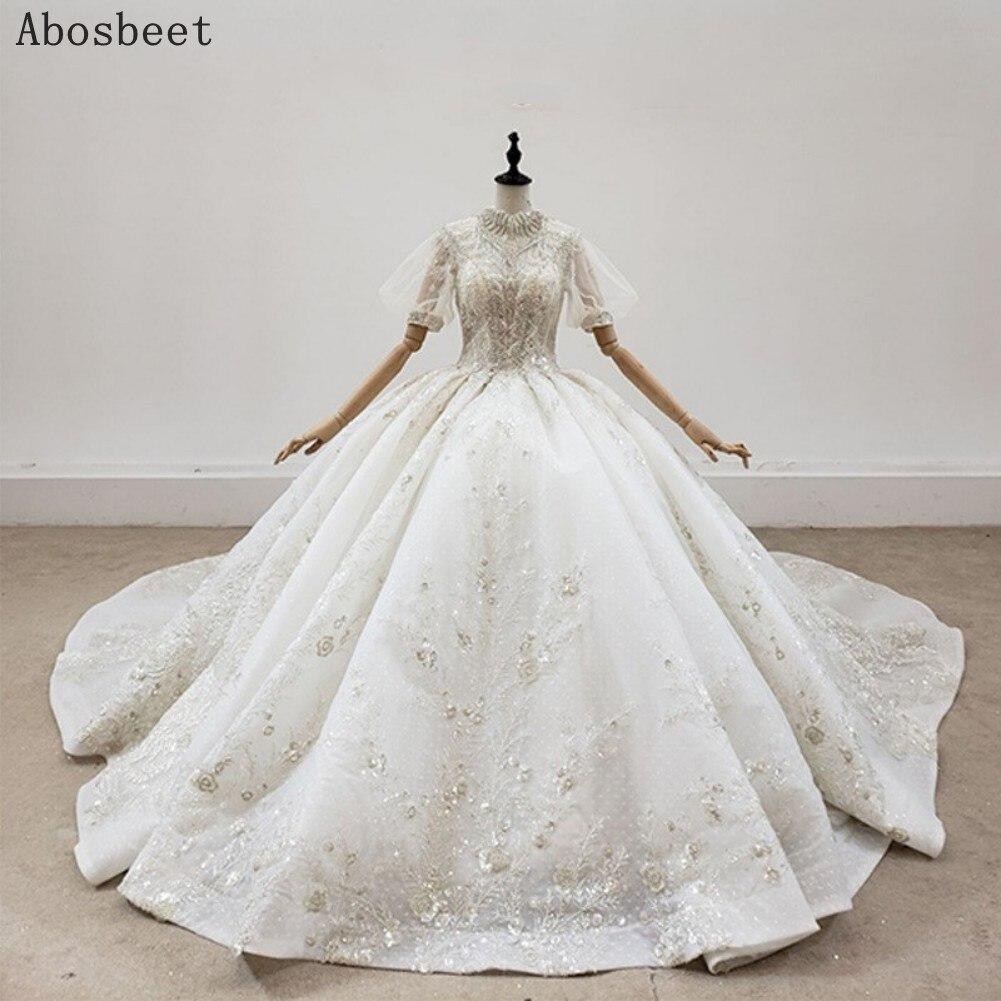 فستان زفاف فاخر بياقة عالية وأكمام منتفخة ، مقاس كبير ، منتفخ ، منفوخ ، أكمام قصيرة ، زفاف لامع ، مجموعة 2021