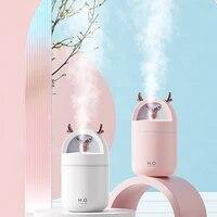 Diffuseur dhuile essentielle et darome de cerf mignon de 280ML  pulverisateur de brouillard ultrasonique USB  purificateur dair pour la maison et le bureau avec lumieres colorees