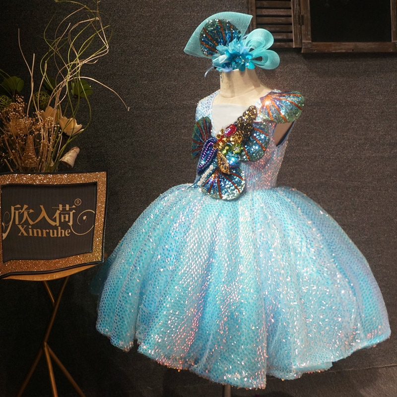 2021 Real Picture Baby Girls Dresses for Party Beaded Crystals V neck Little princess Performance Cloth Costumes