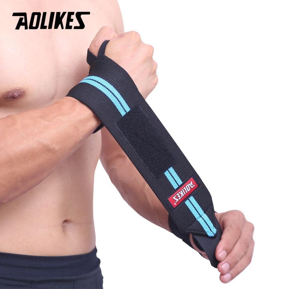 AOLIKES 1 Uds muñeca apoyo gimnasio entrenamiento levantamiento de pesas guantes Bar agarre correas de barra con pesas secreto protección para manos