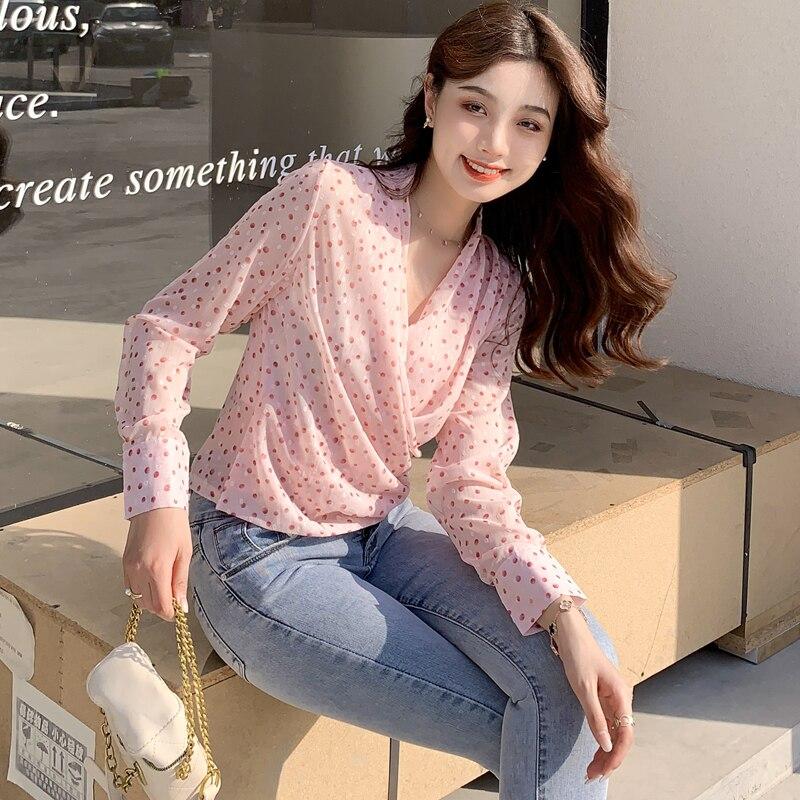 women  sweet v-neck chiffon blouse 6218#