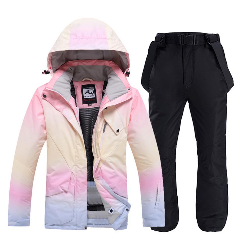 بدلة الثلج النسائية للأزواج, ملابس الثلج للنساء للشتاء خارج المنزل ملابس تزلج مقاومة للماء دافئة سميكة سترة تزلج مجموعة بانت