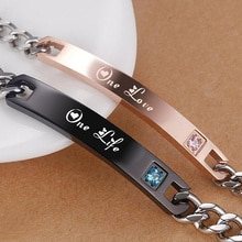 Vnox romantique Couples Bracelets pour lui et son acier inoxydable une vie un amoureux Bracelet meilleurs cadeaux danniversaire
