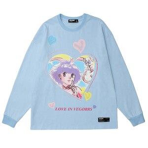 womens Japan Style Anime Girl Print T shirts Unisex Oversized Cotton Hip Hop Tops Female O-neck Long Sleeve T-shirt Couple Tees