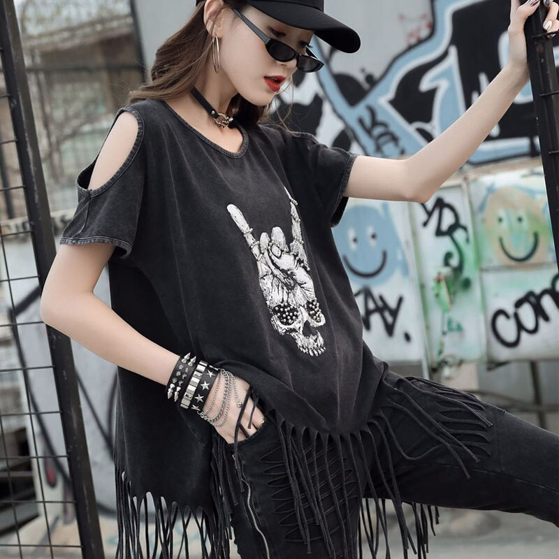 Tassel Hem Pleated T shirt Fashion New Print Pattern Pullover 2020 Summer Off the Shoulder Punk Rock Style Loose Women Tops