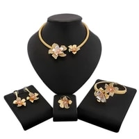 yulaili luxury flowers boom women engagement cubic zirconia choker necklace earrings dubai gold jewelry sets jewelery addiction