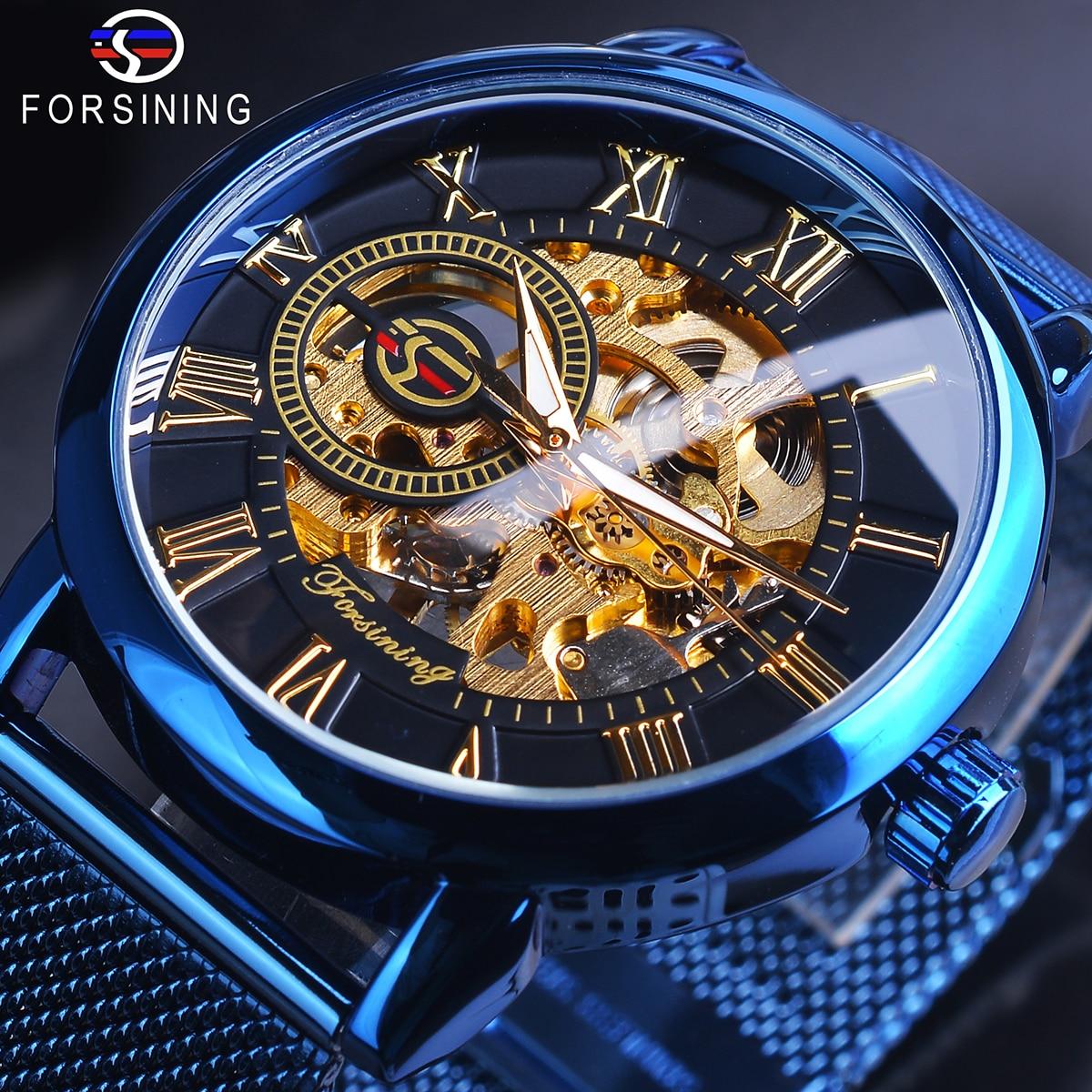 Forsining esqueleto 3d real retro design preto ouro dial relógio mecânico azul malha banda de aço inoxidável relógio de pulso luminoso