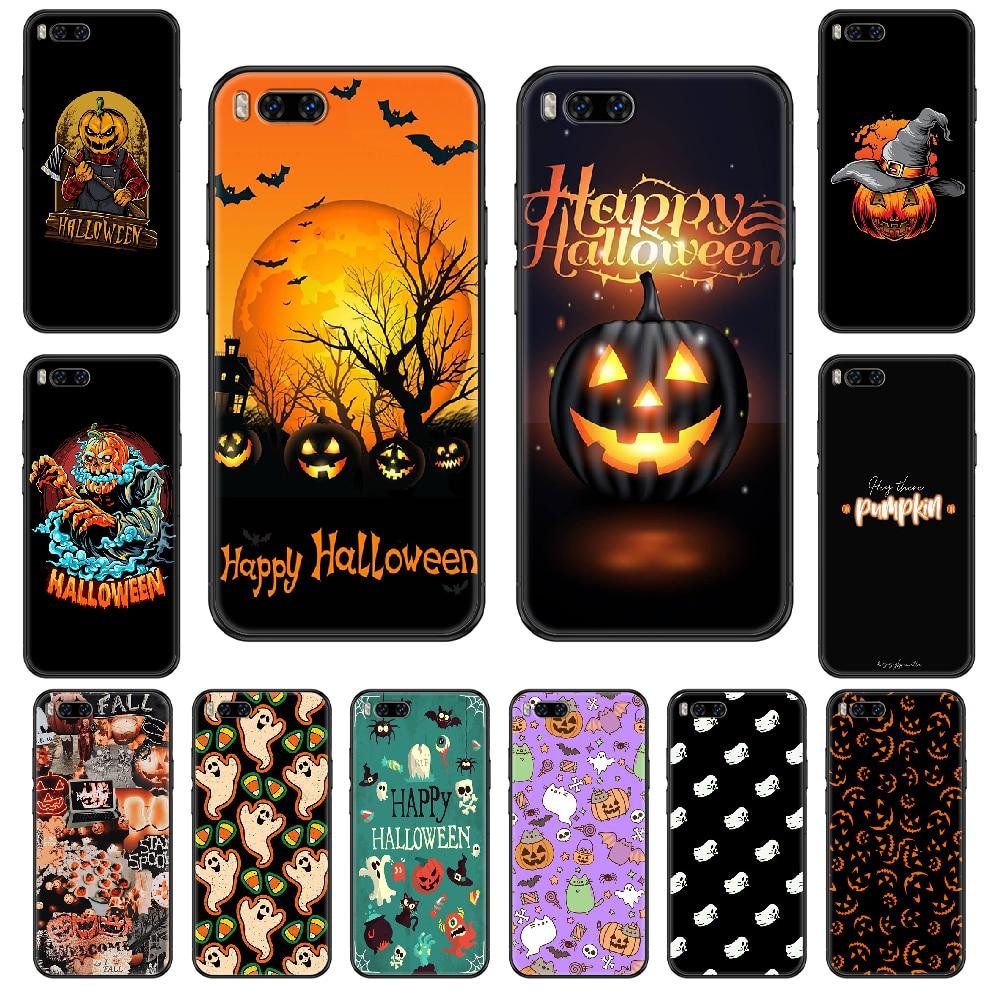 Zucca di Halloween cassa Del Telefono Per Xiaomi Mi 6 8 9 A1 2 3 Max3 Mix2 Mix2S X T Lite Pro nero soft shell 3D copertura di lusso indietro