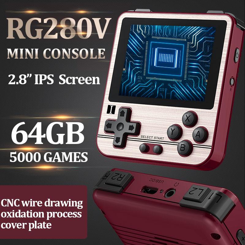 Anberonic RG280V ألعاب ريترو 16 جرام/64G-5000 ألعاب 2.8 بوصة IPS شاشة ريترو المحمولة وحدة تحكم بجهاز لعب محمول للأطفال هدية 280 فولت