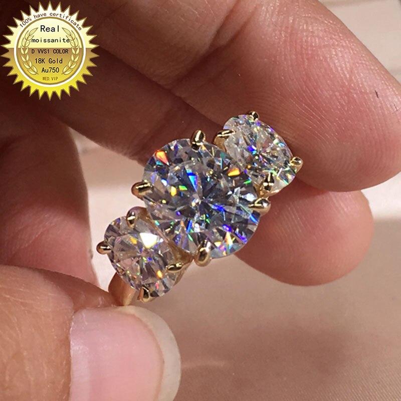 خاتم من الذهب عيار 18 قيراطًا مرصع بالألماس المويسانتي 4 قيراط بلون D VVS مع شهادة وطنية 044