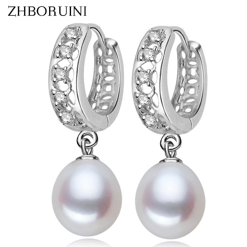ZHBORUINI 2019 nuevos pendientes de perlas finas, perlas naturales de agua dulce, Pendientes colgantes de perlas de plata esterlina 925, joyería para regalo de mujer