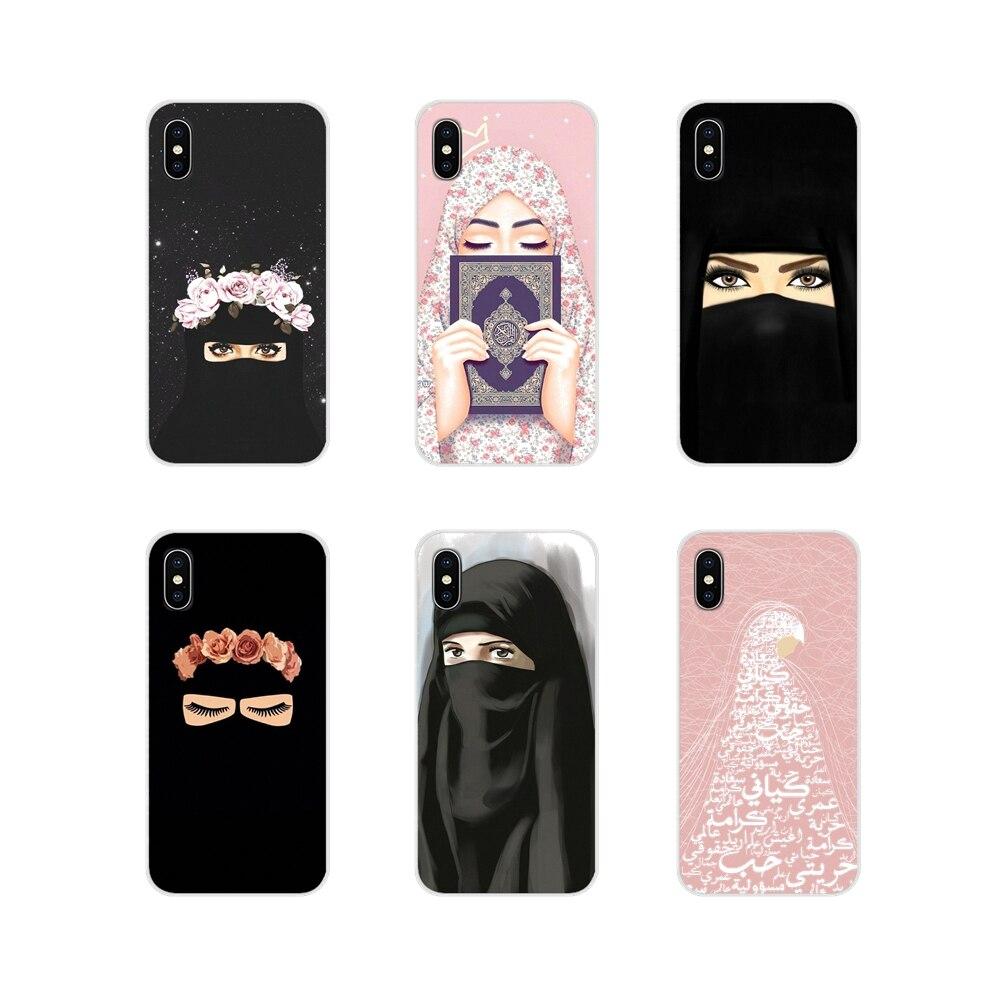 Müslüman İslam kız gözler arap başörtüsü aksesuarları durumda Samsung Galaxy J1 J2 J3 J4 J5 J6 J7 J8 artı 2018 Prime 2015 2016 2017