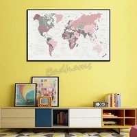 home decor canvas painting world map poster simple waterproof ink painting frameless decoration modern background wall