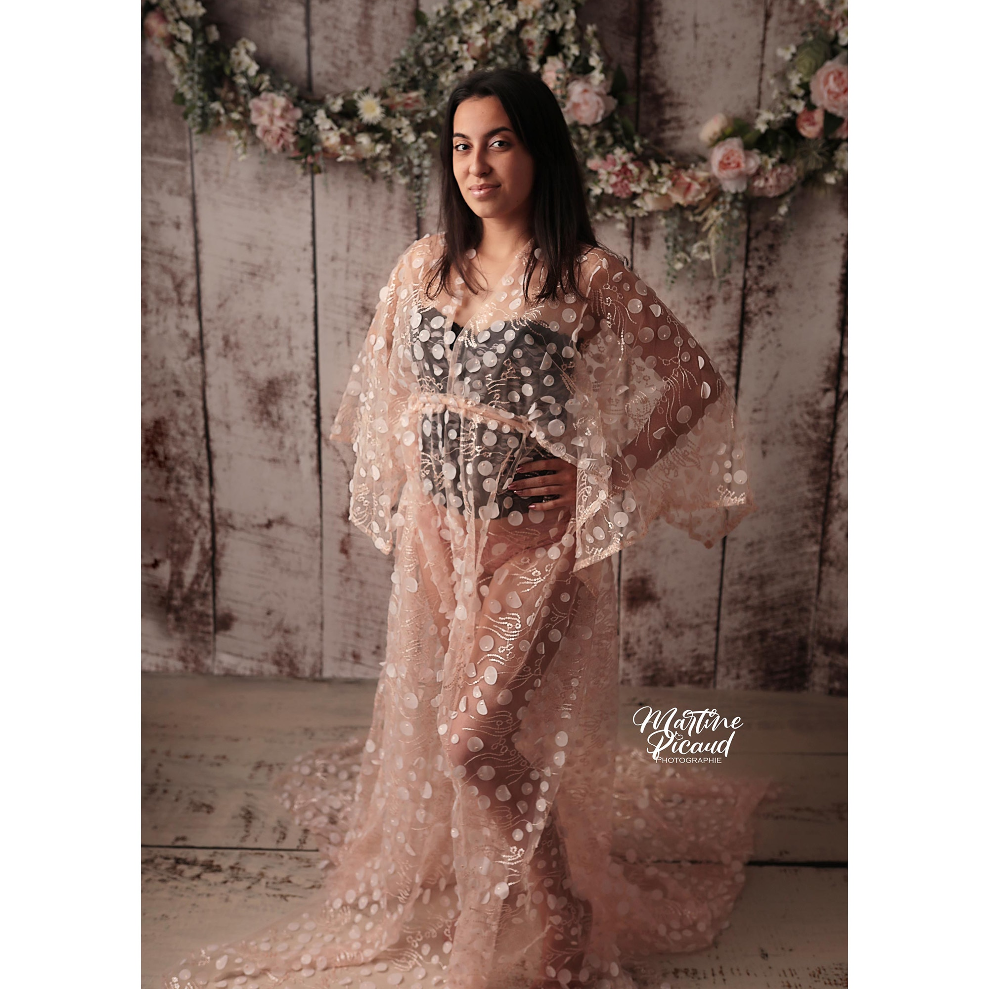 Boho Tulle Photography Sparkly Dress Maternity Robe Pregnant Kaftan Photo Shoot Baby Shower Evening Party Prom Women Couture